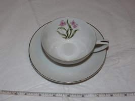 Grantcrest Pink Orchid Fine China Tea Cup and Saucer off white pink green! - $29.69