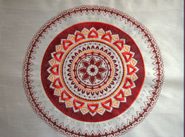 Shabbat Judaica Challah Bread Cover White Red Brown Mandala Silver Embroidery image 4