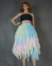 Tiered Elastic High Waist Tulle Skirt Women's Hi-lo Layered Holiday Formal Skirt image 10