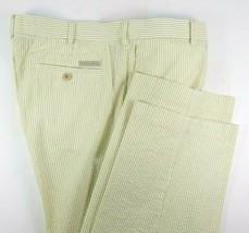 Perry Ellis Cottons Seersucker Pants Mens Size 36 x 30 Green Beige Strip... - $27.67