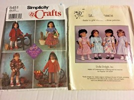 """Simplicity Dolls Delight American Girl 18"""" Doll 2 Patterns Clothes   SKU 026-111 - $13.99"""