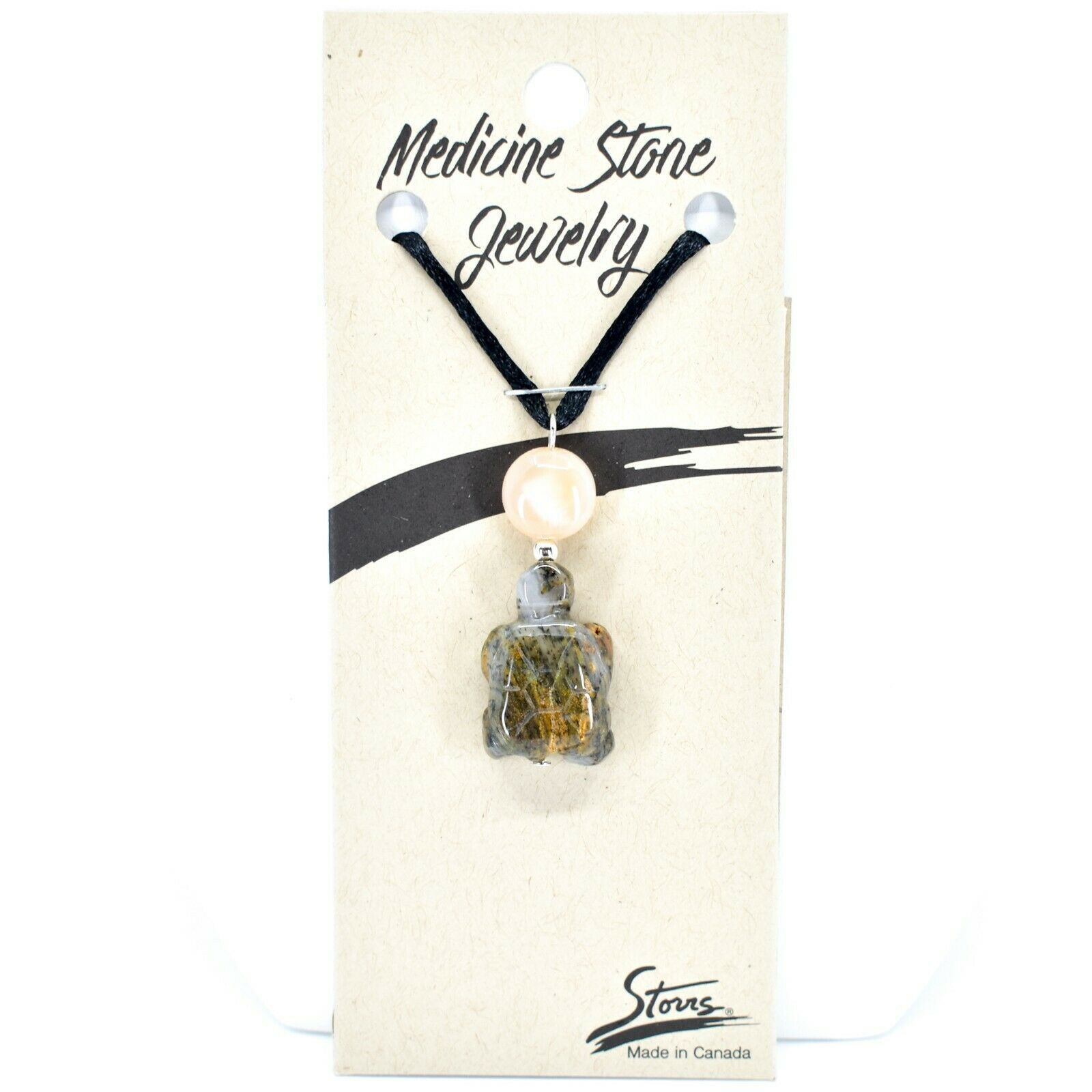 A.T. Storrs Handcrafted Harmony Serenity Medicine Stone Turtle Pendant Necklace