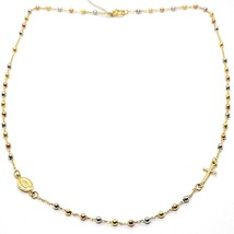 18K YELLOW WHITE ROSE GOLD ROSARY NECKLACE MIRACULOUS MEDAL TUBE CROSS, ITALY image 2