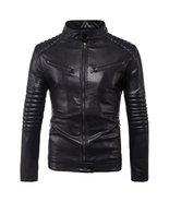 Fashion men's leather jacket moto engine leather jacket coat folds sleev... - $195.00+