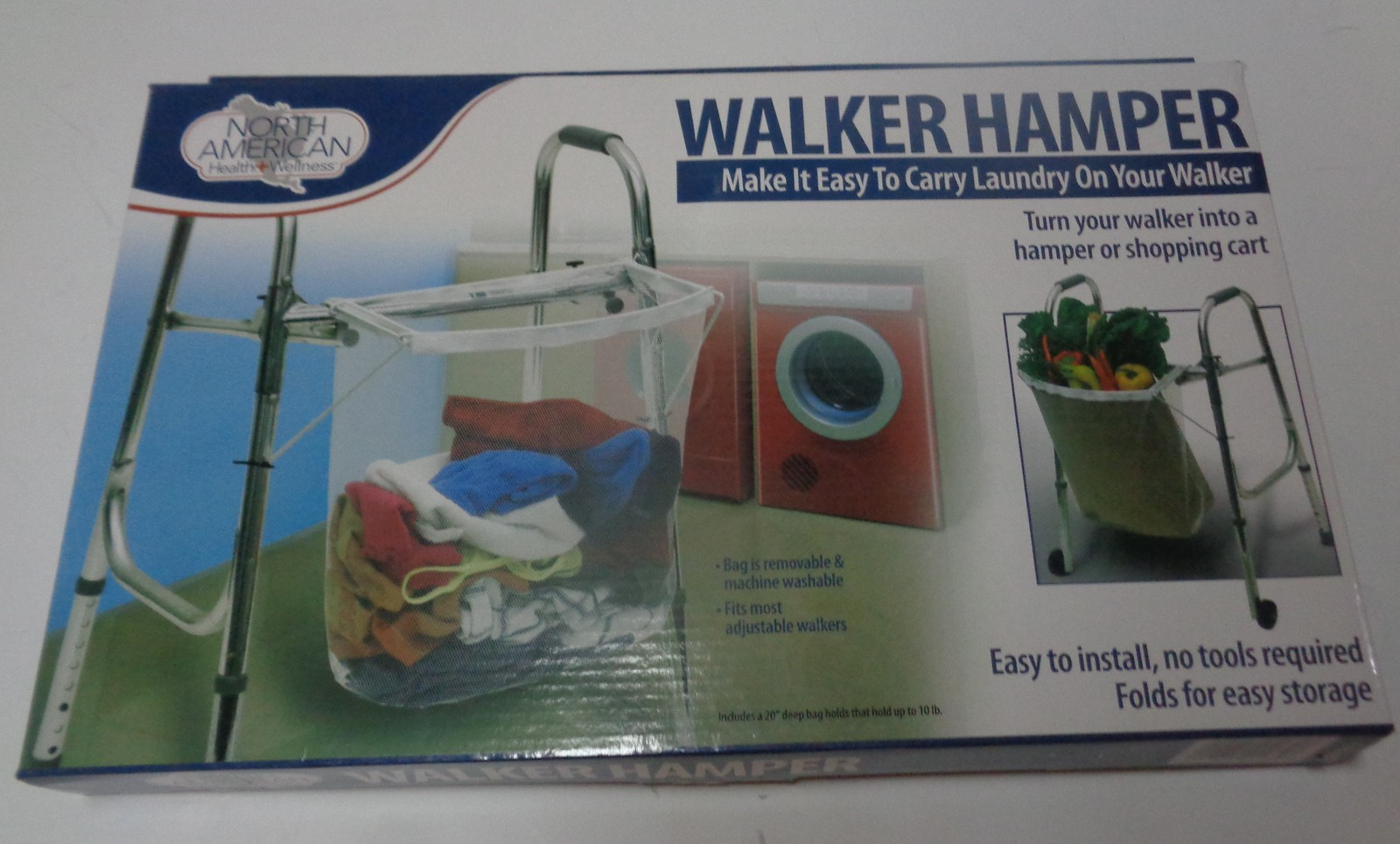 North American Wellness Walker Laundry Grocery Hamper NIB
