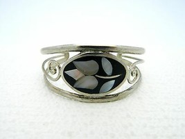 VTG Hecho En Mexico White Mother of Pearl Abalone Shell Flower Cuff Brac... - $34.65