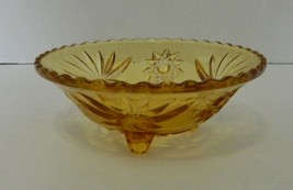Early American Prescut Amber Yellow EAPC 3 Toed Star of David Vintage Bowl - $16.71