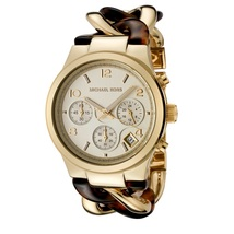 Michael Kors MK4222 Chain Link Acrylic Gold-Tone Ladies Watch - $176.16