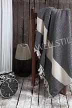 "100% Cotton Couch Throw Blanket-Black Herringbone 78""x94""(200x240cm)-""We... - $39.95"