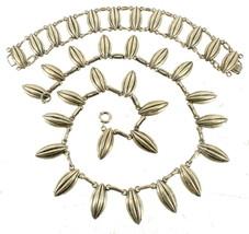 Vintage Sterling Mid Century Hanging Textured Seed Pod Necklace Bracelet... - $251.99