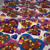 Vintage Lisa Frank Complete Sticker Sheet Teddy Bear Cap Heart  Rainbow Clouds image 2