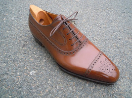 Handmade Men's Brown Heart Medallion Lace Up Dress/Formal Oxford Leather Shoes image 3