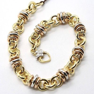 Bracelet or Jaune Rose Blanche 18k 750, Triples Cercles Alterné, Rolo