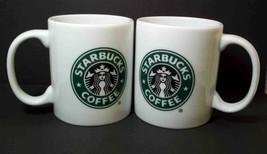 Starbucks Siren Logo mugs x 2 white green logo 2006 9 oz - $12.54
