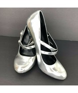 Miss Bisou Silver Mirror Dee 9 M Mary Jane Pumps Heels Party Wedding  - $39.59
