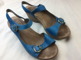 Dansko -Womens Blue Leather Sandals  Size 37 With Flaw - $18.69