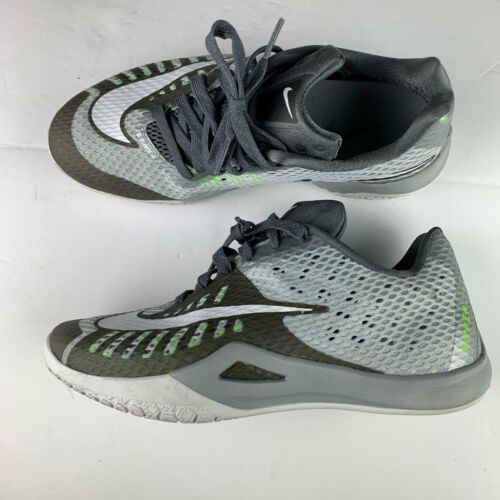 Nike Hyperlive Sneakers Shoes Men sz 8 Gray white green Basketball Low