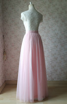 LIGHT PINK Full Length Tulle Skirt Plus Size High Waist Pink Tulle Skirt image 6