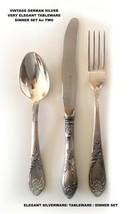 ELEGANT SILVERWARE / TABLEWARE / German Silver / DINNER SET for TWO / NE... - $61.67