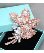 Faux Pearl Rose Gold Leaf Wedding Brooch Bridal Crystal Pin Jewelry - $21.34