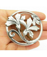 925 Sterling Silver - Vintage Antique Sculpted Flowers Round Brooch Pin-... - $89.54
