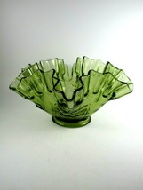 """Vintage Westmoreland Olive Green Glass Bowl Ruffled Edge Floral 3 3/4""""x7... - $23.76"""