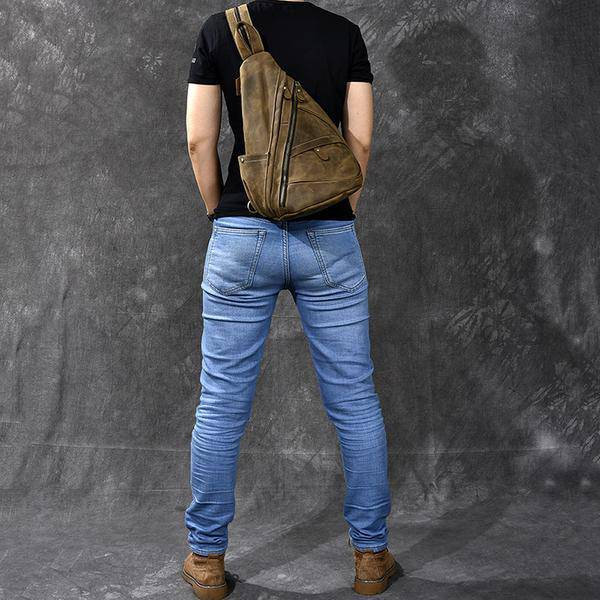 Sale, Horse Leather Men Chest Bag, Vintage Chest Pack Backpack image 3