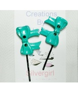 Assorted Sets of 2 Bobby Pins -Green Bow - $5.49