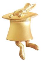 JJ Jonette Pin Brooch Matte Gold Rabbit in Hat w/ Dangling Feet Costume Jewelry - $16.95