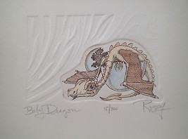 "Robert "" Rosey"" Rosenthal Baby Dragon Etching #11/300 Hatched from Blue Egg - $19.79"