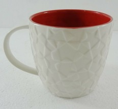 Starbucks Embossed Holiday Star Mug 2011 White w Red Interior 14 ounces NEW - $35.77