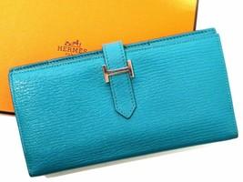 Hermes Beansufure Machi two-fold wallet Chevre Blue Paon X time Silver Bearn - $1,317.42