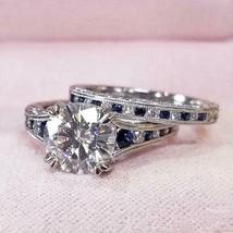 2.86Ct Round Cut White Diamond & Blue Sapphire 925 Silver Engagement Rin... - $125.00