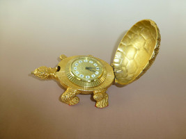 Vintage Swiss Looping Gold Gilt Metal Turtle Tortoise Ornament 8Day Alar... - $886.05