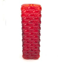 Vintage Fenton Glass Vase Ruby Red Diamond Bead Quilted Pattern  - $68.39