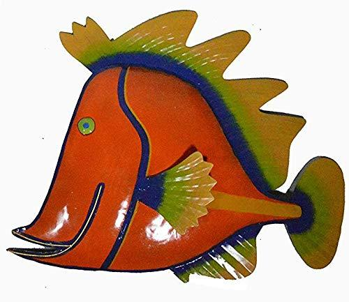 WorldBazzar Orange Beautiful Unique Fish Metal Hanging Wall Art Scratch and DENT - $23.76