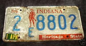 1976 Indiana License Plate / Tag