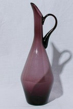 "Hand Blown Art Glass Handled Carafe Pitcher Vase 15"" Tall - $123.70"