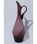 "Hand Blown Art Glass Handled Carafe Pitcher Vase 15"" Tall - £97.21 GBP"