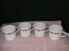 "Corning Milk Glass Coffee Mugs ""Holly Days"" - $20.00"