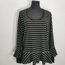 We The Free Round About Tee Blouse Top Size S Black Stripe Peplum Oversized - $18.37