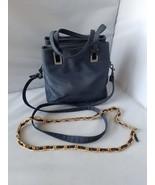 Kathy Ireland Mujer Vintage Bolso Bolsa de Hombro Azul Marino & Cadena A... - $40.89