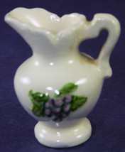 "Vintage Miniature Pottery White Pitcher With Grapes 1-7/8"" Tall - $14.50"