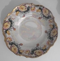 Trimont Ware Decorative Bowl Iridescent Pearl Yellow Pink Flowers Gold T... - $12.19