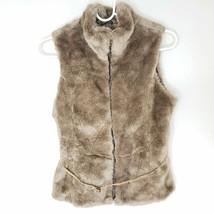 Zara Girls Sleeveless Belted Vest L Outerwear Brown Soft Plush Faux Fur Zip - $20.39