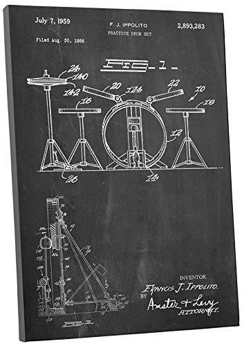 "Primary image for Pingo World 0301Q3XW51S ""Drum Set Patent"" Gallery Wrapped Canvas Print, 20"" x 16"