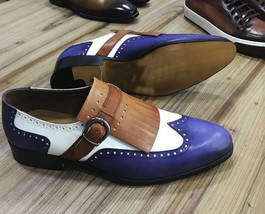 Handmade Men's Wing Tip Fringe Buckle Multi Color Leather Shoes image 2
