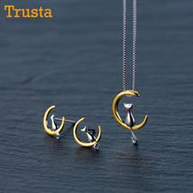 Trusta 2018 New Women's Fashion 925 Sterling Silver Jewelry Moon Cat Stu... - €22,09 EUR