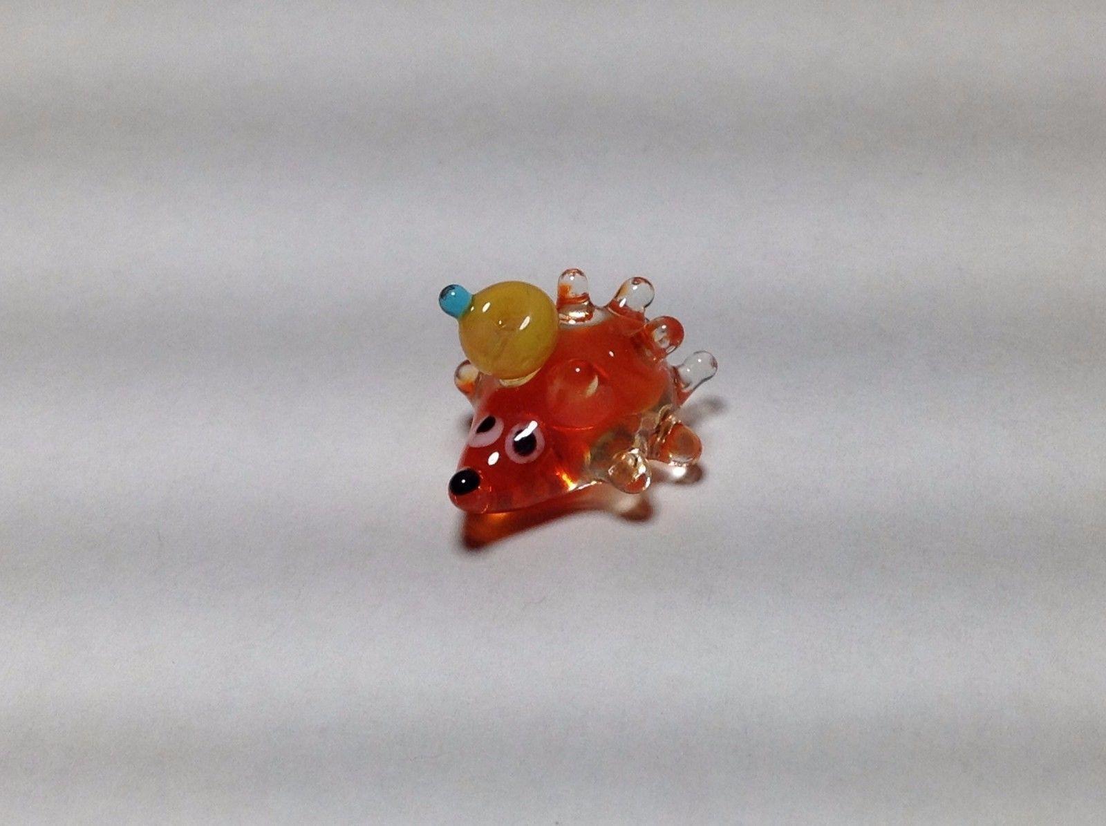 Miniature Glass hedgehog and  hitchhiker Handmade Blown Glass Made USA