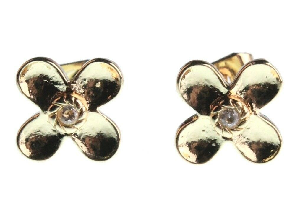 NEW Kevia 18K Gold Plated Cubic Zirconia Crystal Floral Post Stud Earrings NWT